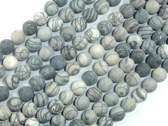 Matte Black Line/ Spider Web Jasper, Silk Stone, 8mm Round beads-BeadBeyond