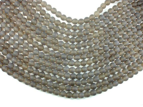 Matte Gray Agate Beads, 8mm Round Beads-BeadBeyond