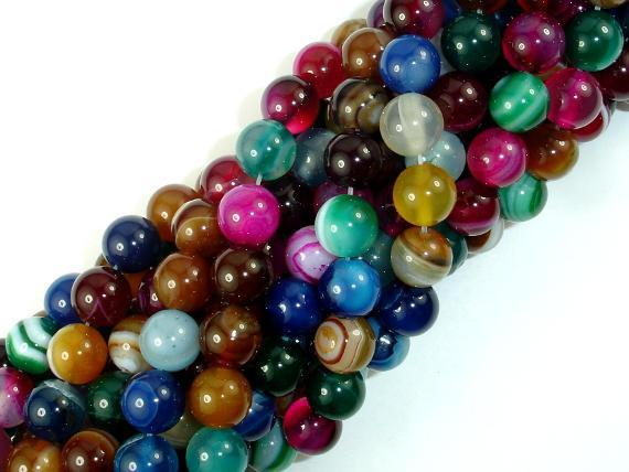 Banded Agate Beads, Striped Agate, Multi Colored, 8mm Round Beads-BeadBeyond