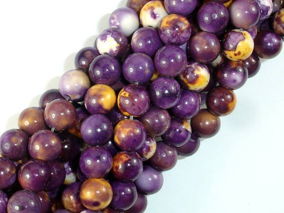 Rain Flower Stone, Purple, Yellow, 8mm Round Beads-BeadBeyond
