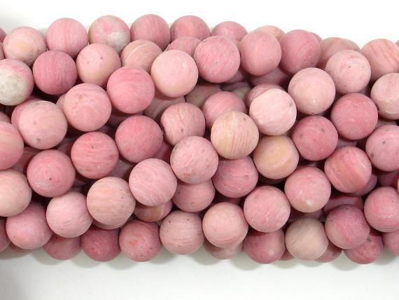 Matte Rhodonite Beads, Round, 8mm-BeadBeyond