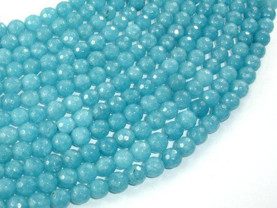 Blue Sponge Quartz, 6mm Faceted Round Beads-BeadBeyond