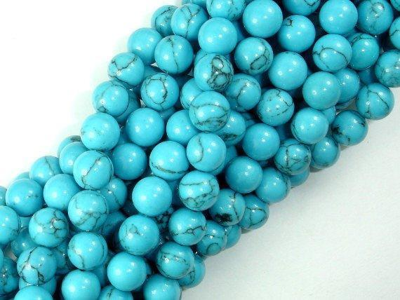 Howlite Turquoise Beads, 8mm Round Beads-BeadBeyond