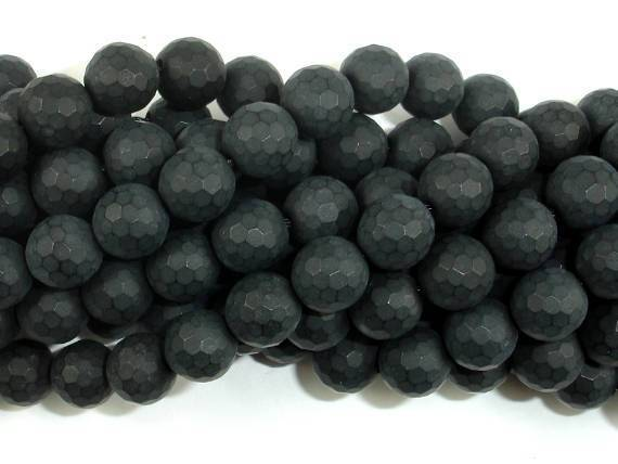 Matte Black Onyx Beads, 6mm Faceted Round-BeadBeyond