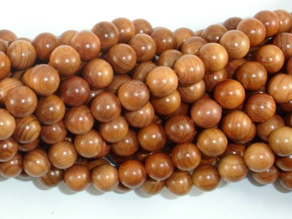 Taxus Chinensis Wood Beads, 8mm Round Beads-BeadBeyond