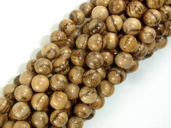 Aqarwood Beads, 8mm(8.3mm) Round Beads, 34 Inch-BeadBeyond