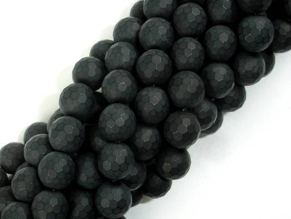 Matte Black Onyx Beads, 8mm Faceted Round-BeadBeyond