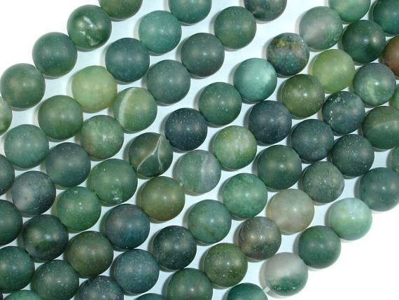 Matte Moss Agate Beads, 8mm Round Beads-BeadBeyond