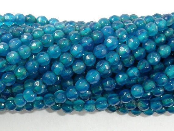 Agate - Blue, Faceted Round, 4mm, 15 Inch-BeadBeyond