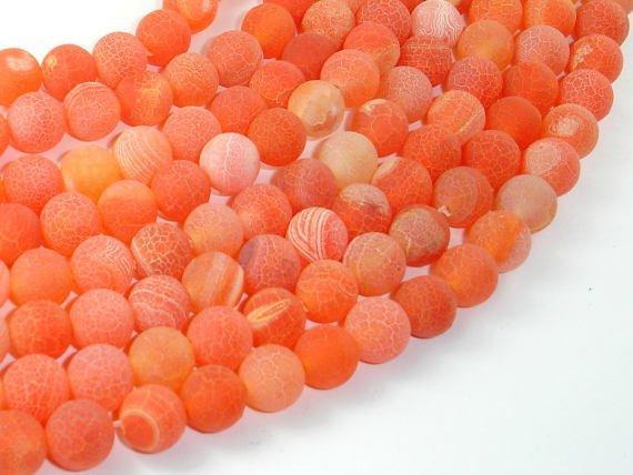 Frosted Matte Agate- Orange, 8mm Round Beads-BeadBeyond