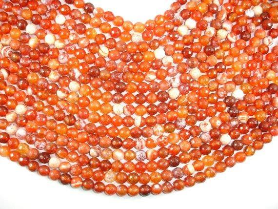 Fire Agate Beads, Orange & White, 8mm Faceted Round-BeadBeyond