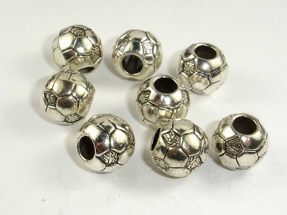 Metal Beads, Metal Spacer, Large Hole Round Spacer, Zinc Alloy 6pcs-BeadBeyond