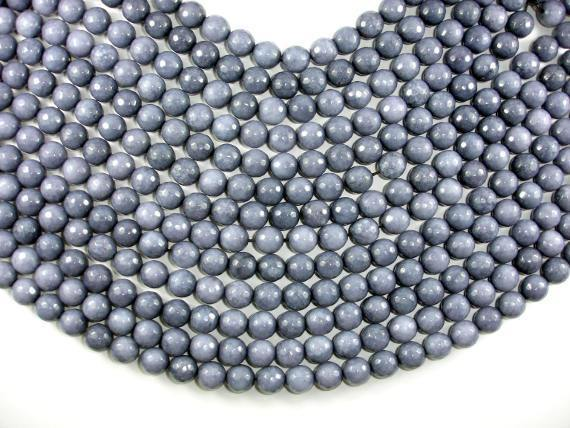 Jade Beads, Gray, 10mm Faceted Round-BeadBeyond