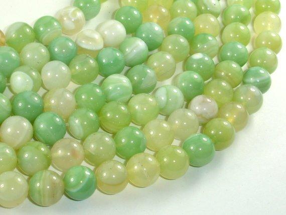 Banded Agate Beads, Light Green, 10mm(10.4mm)-BeadBeyond