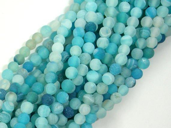 Frosted Matte Agate - Light Blue, 4mm Round Beads-BeadBeyond