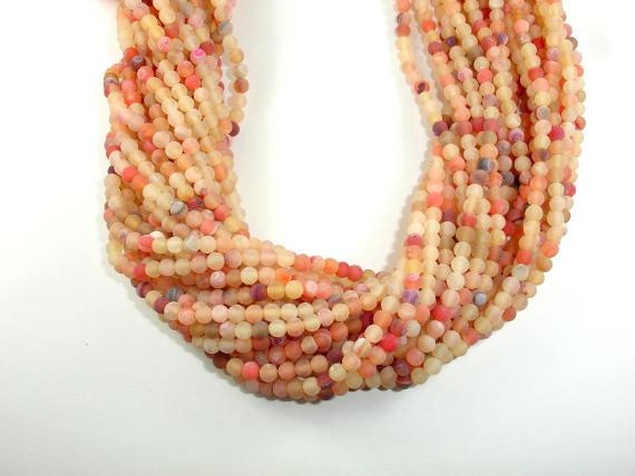 Frosted Matte Agate - Peach, 4mm Round Beads-BeadBeyond