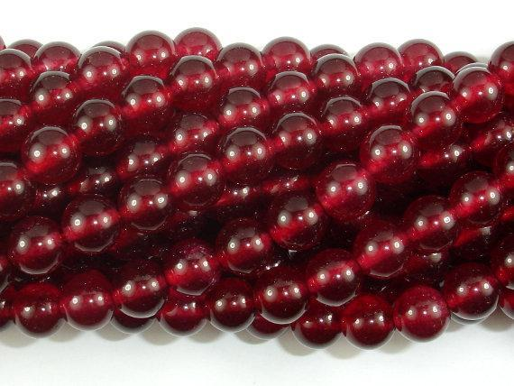 Jade Beads, Ruby, 8mm Round Beads-BeadBeyond