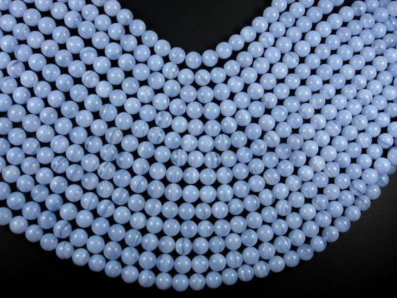 Blue Chalcedony Beads, Blue Lace Agate Beads, 8mm Round Beads-BeadBeyond