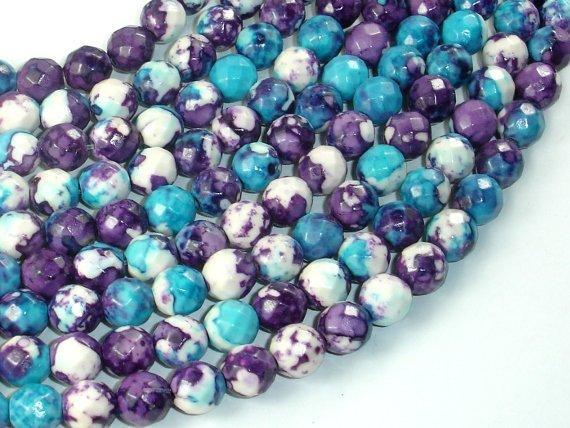 Rain Flower Stone Beads, Blue, Purple, 8mm Faceted Round Beads-BeadBeyond