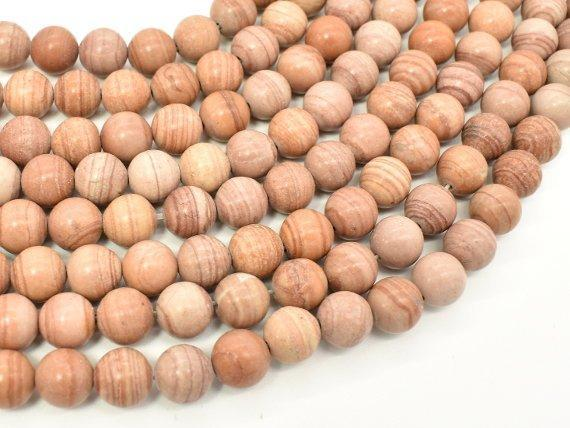 Pink Banded Jasper, 8mm, Round Beads-BeadBeyond