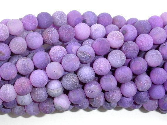 Frosted Matte Agate Beads- Purple, 8mm, Round Beads-BeadBeyond