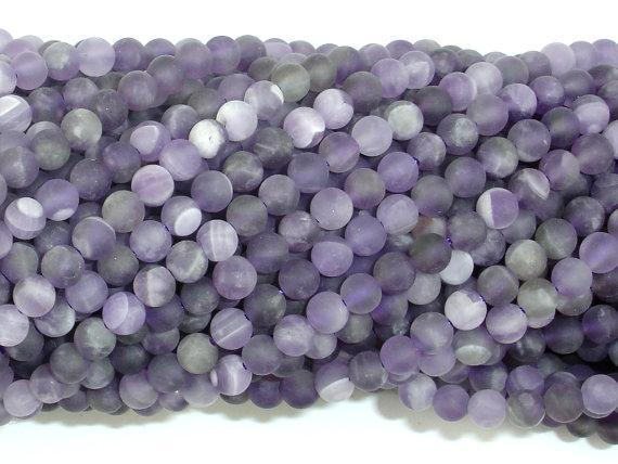 Matte Amethyst Beads, 4mm Round Beads-BeadBeyond