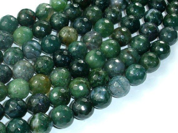 Moss Agate Beads, 10mm Faceted Round Beads-BeadBeyond