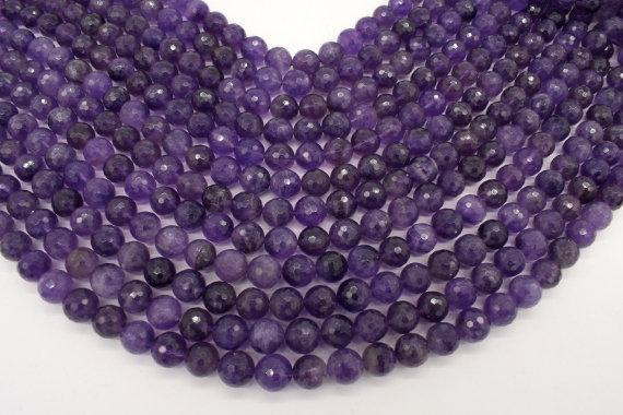 Amethyst Beads, 10mm Faceted Round-BeadBeyond