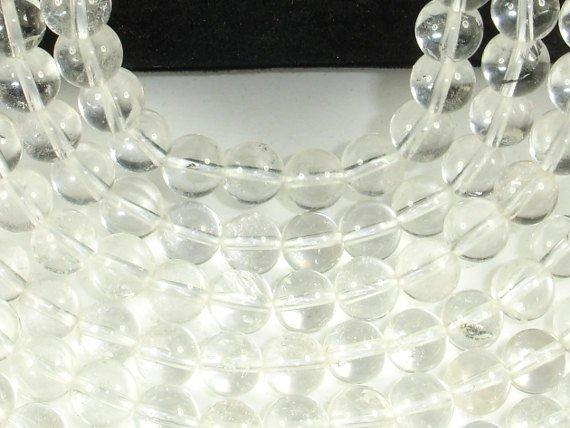 Clear Quartz Beads, 8mm Round Beads-BeadBeyond