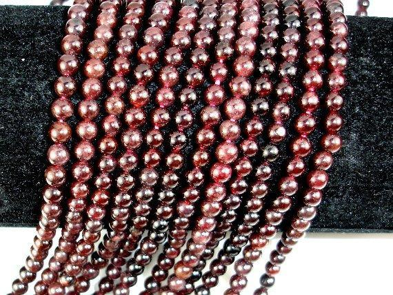 Red Garnet Beads, 4mm-4.7mm Round Beads-BeadBeyond