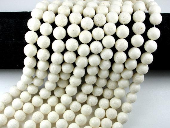 White Sponge Coral Beads, Round, 10mm(10.5mm)-BeadBeyond