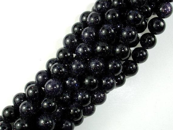 Blue Goldstone Beads, 8mm Round Beads-BeadBeyond
