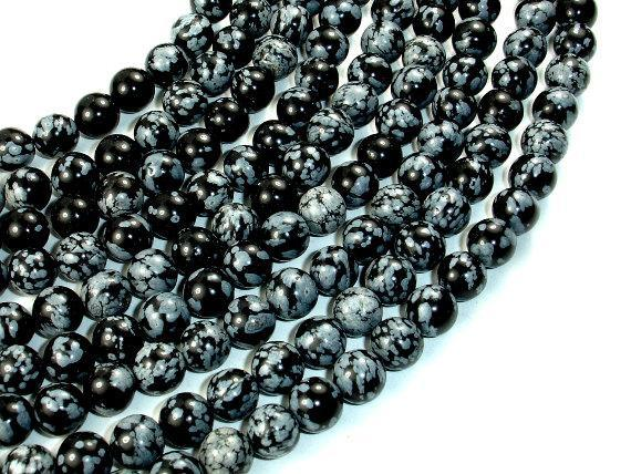 Snowflake Obsidian Beads, Round, 8mm (8.5mm)-BeadBeyond