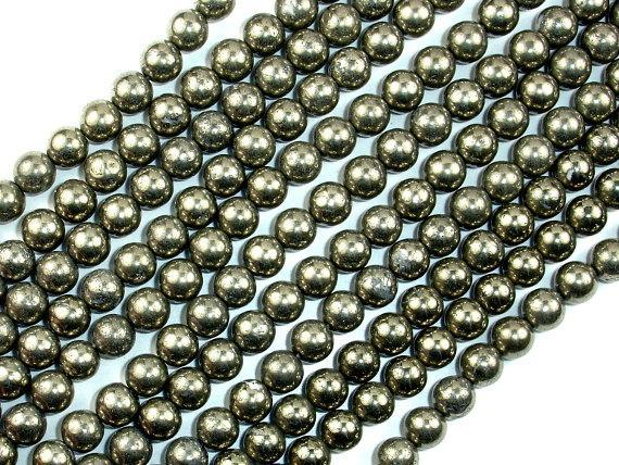 Pyrite Beads, 6mm Round Beads-BeadBeyond