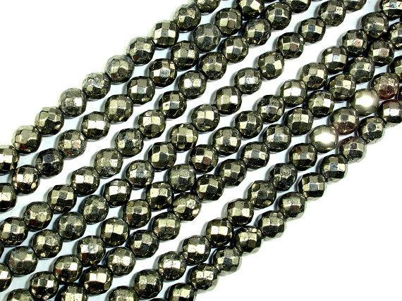 Pyrite Beads, Faceted Round, 6mm-BeadBeyond
