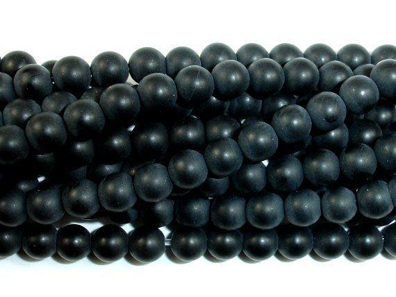 Matte Black Onyx Beads, Round, 4mm-BeadBeyond