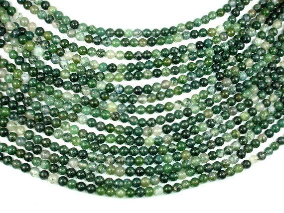 Moss Agate Beads, Round, Green, 6mm-BeadBeyond