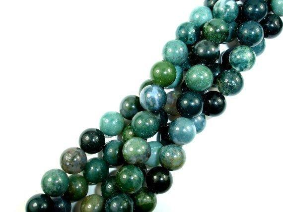Moss Agate, Round beads, 10mm, Green Beads-BeadBeyond