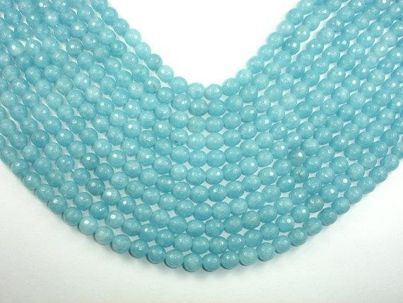 Blue Sponge Quartz Beads, Faceted Round, 8mm-BeadBeyond