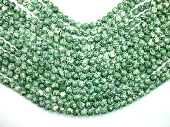 Green Spot Jasper Beads, Round, 8mm-BeadBeyond