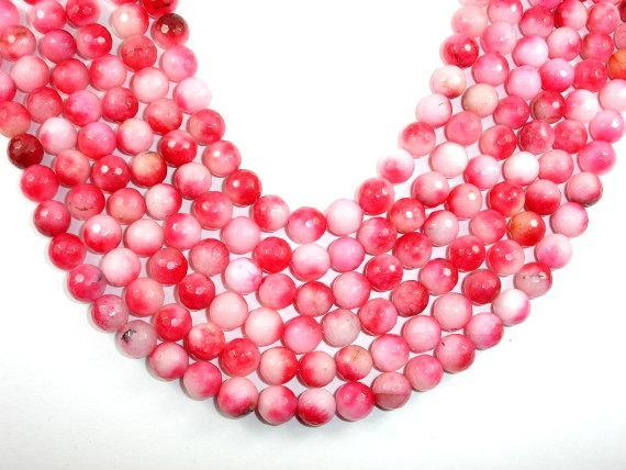 Dyed Jade Beads, Pink, Faceted Round, 10mm-BeadBeyond