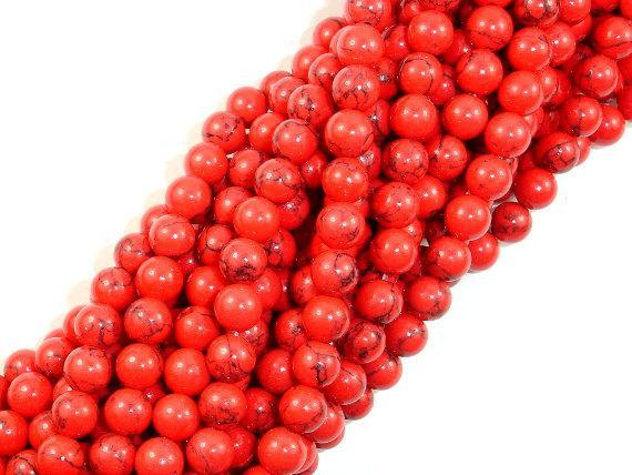 Red Howlite Beads, 6mm Round Beads-BeadBeyond