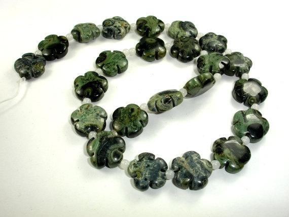Kambaba Jasper Beads, 16x16mm Flower Beads-BeadBeyond