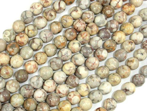 Fossil Jasper Beads, 6mm, Round Beads-BeadBeyond
