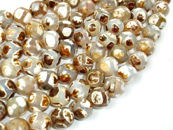 Tibetan Agate Beads, Faceted Round, 10mm-BeadBeyond