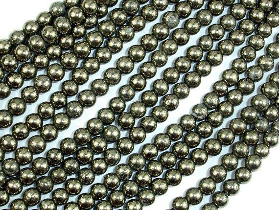 Pyrite Beads, 4mm Round Beads-BeadBeyond