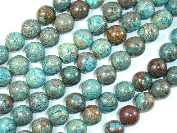 Blue Calsilica Jasper, 12mm Round Beads-BeadBeyond