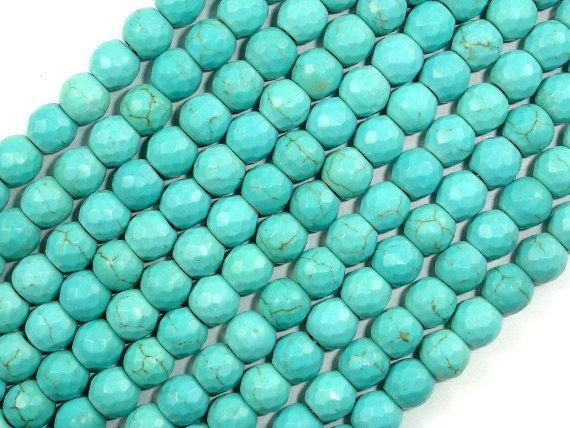 Turquoise Howlite, 6mm (5.9 mm) Faceted Round Beads, 14.5 Inch-BeadBeyond