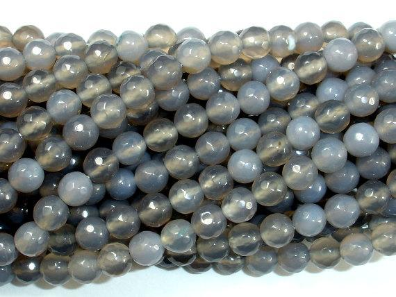 Gray Agate Beads, 6mm Faceted Round Beads-BeadBeyond