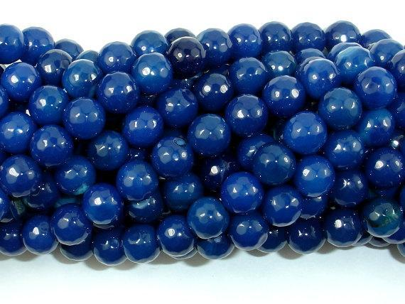 Agate- Dark Blue, 8mm Faceted Round-BeadBeyond